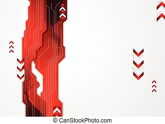 Hi-tech red abstract background with arrows