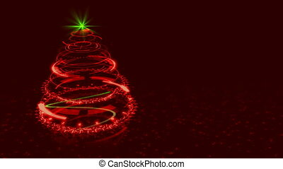 Hi-tech Red Christmas Tree Backdrop. Seamless Loop Abstract Animation.
