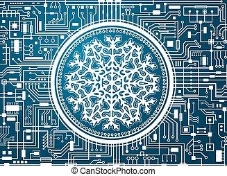 hi-tech, sneeuwvlok, achtergrond, kerstmis