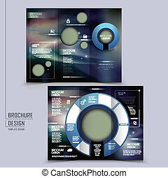 hi-tech style tri-fold template brochure for business