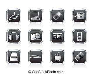 Hi-tech technical equipment icons - vector icon set 3