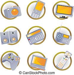 hi-tech, udrustning, iconerne