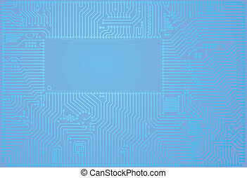 Hi-tech vector abstract blue circuit board background