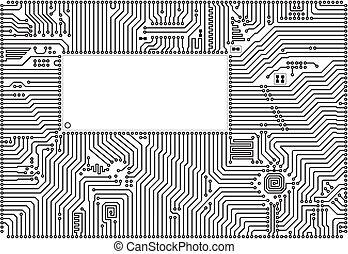 Hi-tech vector circuit board back - white blank frame