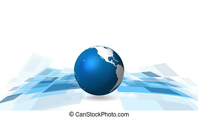 Hi-tech video animation with globe - Hi-tech motion graphic...