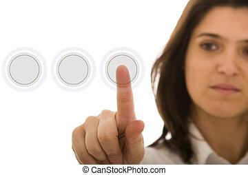 Hi-tech woman - a businesswoman pressing a hi-tech button (...