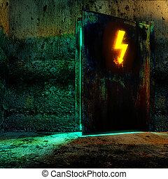 hi-voltage, peligro, puerta, señal