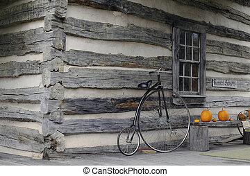 hi-wheel, ποδήλατο , σε , ένα , παλαιού τύπου , ανώτατος απόθεμα