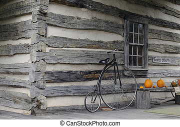 hi-wheel, fiets, op, een, van weleer, algemene opslag