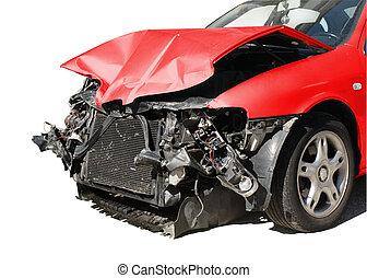 hibás, baleset, autó, után, elszigetelt, fehér