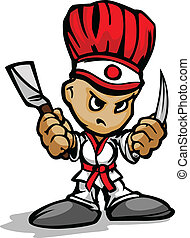 Hibachi Grill Chef Mascot with Determined Face and Cooking...