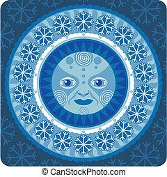 Hibernal Sun - Concentric decorative illustration of the...