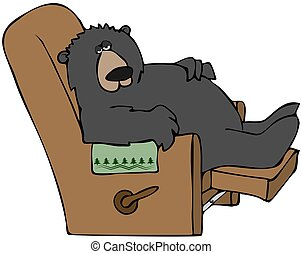 This illustration depicts a bear asleep in a recliner chair.