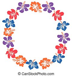 hibisco, círculo, cópia, flores, espaço