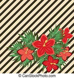 hibisco, cartão, vindima, ilustração, vetorial, floral