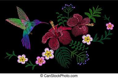 Hibisco, decoración, flor, remiendo, Hawai, Ilustración, arreglo,  tropical,  vector, Palma,  Plumeria, bordado, Florecer, impresión, hojas, Moda, pájaro, exótico, Colibrí