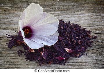hibisco, flor, sabdariffa), chá, sepals, secado, (hibiscus