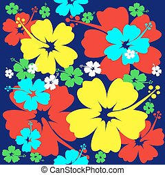 hibisco, flor, seamless, plano de fondo