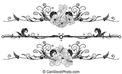 hibisco, floral, conjunto, plano de fondo, amapola