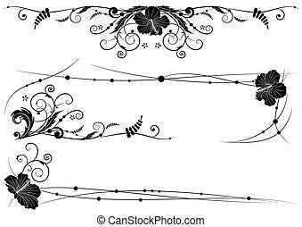hibisco, floral, diseño determinado, elementos