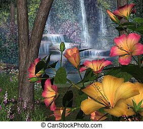 hibisco, flores, con, cascadas