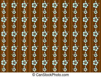 hibisco, fundo, vetorial, tropicais