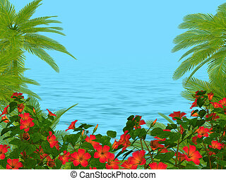 hibisco, marco, árboles, palma, und, flores