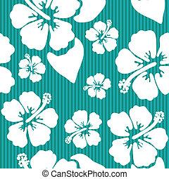 hibisco, padrão, flor, seamless, havaiano