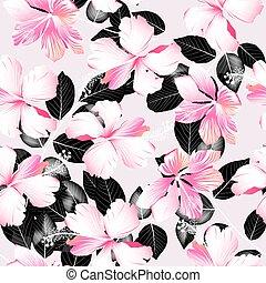 hibisco, padrão, folhas, seamless, tropicais, pretas, flores