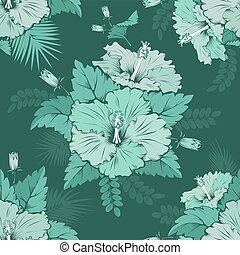 hibisco, padrão, seamless