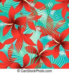 hibisco, palmas, frangipani, seamless, tropical, patrón,...