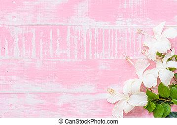 hibisco, pastel, verano, de madera, primavera, concept., ...