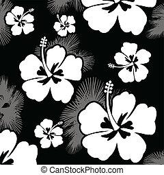 hibisco, patrón, flor, seamless