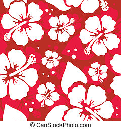 hibisco, patrón, flor, seamless, hawaiano