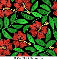 hibisco, planta, padrão, seamless, tropicais, bordado