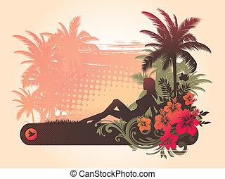 hibisco, silueta, &, tropicais, menina, flores, paisagem