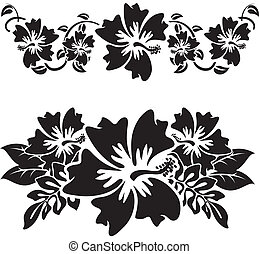 Hibiscus 3 - A pair of black and white hawaian hibiscus...