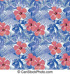 hibiscus, bleu, hiver, feuilles, neige, seamless, exotique, paume, froid, rouges