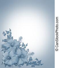 hibiscus bleu, invitation, fond