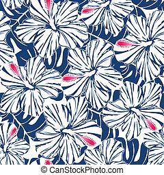 hibiscus bleu, modèle, seamless, exotique, paume