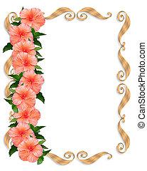 hibiscus, blomstret grænse, bryllup