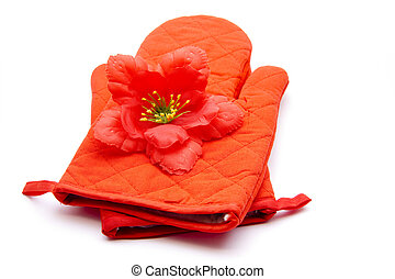 Hibiscus blossom with pot hand shoe