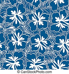 Hibiscus blue flowers and tropical leaves in a seamless pattern