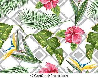 hibiscus, branches, fleur, paumes, modèle, feuilles, seamless, exotique, flowers., paradis, oiseau