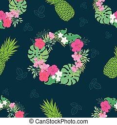 hibiscus, couronne, pattern., fleurs tropicales, orchidée
