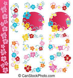 Hibiscus design elements set