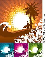 hibiscus, en, surfer, silhouettes, op, een, tropisch strand, landscape, -, vector, illustartion