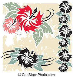 hibiscus, fleurs, hawaien