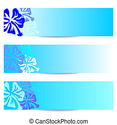 HIBISCUS floral banner blue