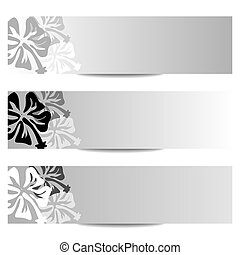 HIBISCUS floral banner bw